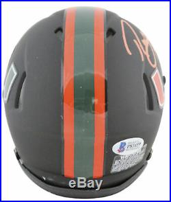 Miami Ray Lewis Authentic Signed Matte Black Speed Mini Helmet BAS Witnessed