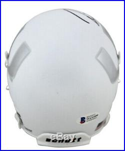 Miami Ray Lewis Signed White Schutt with Chrome Decal Mini Helmet BAS Witnessed