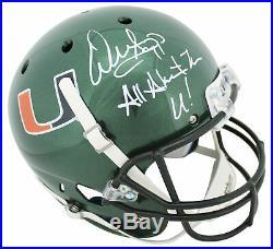 Miami Warren Sapp All About The U! Signed Green Schutt Full Size Rep Helmet BAS