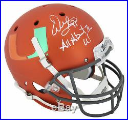 Miami Warren Sapp All About The U! Signed Orange Schutt Full Size Rep Helmet BAS