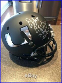 Miami Warren Sapp Career Stat Signed Black Matte Full Size Rep Helmet BAS