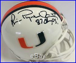 Michael Irvin 87 Champs Autographed Miami Hurricanes Mini Helmet (JSA)