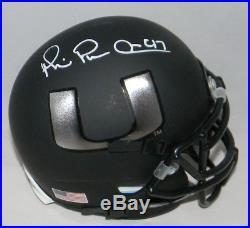 Michael Irvin Autographed Signed Miami Hurricanes Matte Black Mini Helmet Jsa