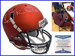 Michael Irvin SIGNED Miami Hurricanes Full Size Helmet Beckett ITP Autographed