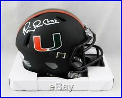 Michael Irvin Signed Miami Hurricanes Black Speed Mini Helmet- JSA W Auth White