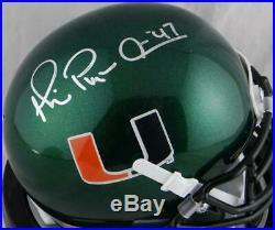 Michael Irvin Signed Miami Hurricanes Green Schutt Mini Helmet- JSA W Auth S