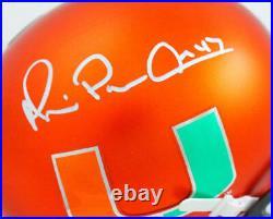 Michael Irvin Signed Miami Hurricanes Orange Schutt Mini Helmet-Beckett W Holo