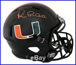Michael Irvin Signed Miami Hurricanes Replica Black Night Speed Helmet JSA 25689