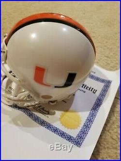 Michael Irvin signed University of Miami mini helmet Tristar COA and hologram
