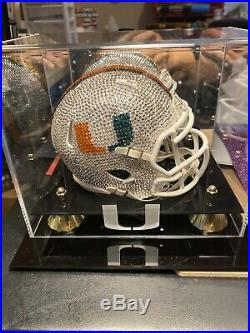NEW NCAA UM Mini Helmet Made with Swarovski Crystals + Matching Case
