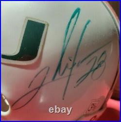 NICE Ray Lewis, Ed Reed, Portis, Anderson Multi Signed Miami Mini Helmet JSA FB