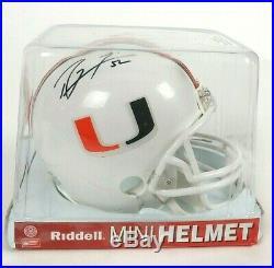 RAY LEWIS 52 Autographed MIAMI HURRICANE Riddell Mini Helmet New Sealed COA