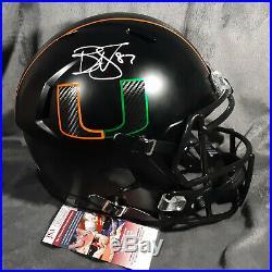 REGGIE WAYNE signed MIAMI HURRICANES full size SATIN BLACK helmet JSA W coa fs