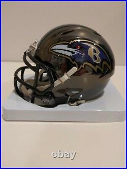 Ray Lewis Autographed Baltimore Ravens Mini Helmet JSA COA NFL Chrome Rare