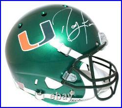 Ray Lewis Autographed Miami Hurricanes Green Schutt Replica Helmet JSA 24062
