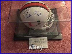 Ray Lewis Autographed Miami Hurricanes Mini Helmet With COA/Custom Display Case