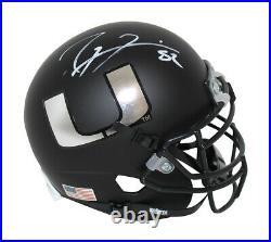Ray Lewis Autographed Miami Hurricanes Schutt Black Mini Helmet BAS 30672