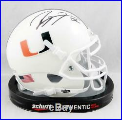 Ray Lewis Autographed Miami Hurricanes Schutt Mini Helmet- Beckett Auth Black