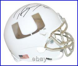 Ray Lewis Autographed Miami Hurricanes White Chrome Mini Helmet BAS 29526