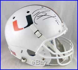 Ray Lewis Autographed Miami Hurricanes White Schutt F/S Helmet JSA Auth Black