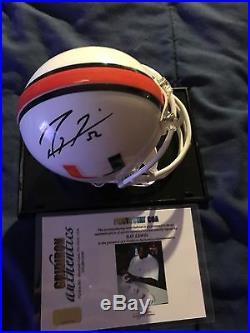 Ray Lewis Autographed Mini Helmet Miami Hurricanes. WithCOA & Case