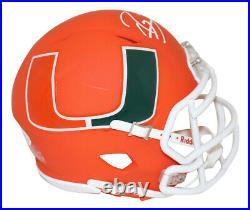 Ray Lewis Autographed/Signed Miami Hurricanes AMP Mini Helmet BAS 28487