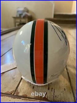 Ray Lewis Autographed/Signed Mini Helmet COA Miami Hurricanes Baltimore Ravens