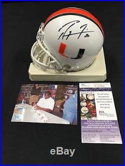 Ray Lewis Miami Hurricanes Signed Mini Helmet Jsa Coa V37903 Free S&h! Hof