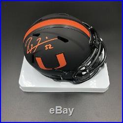 Ray Lewis Signed Autographed The U University Of Miami Eclipse Mini Helmet NCAA