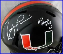 Ray Lewis Signed Hurricanes Black Riddell F/S Speed Helmet Beckett Auth White