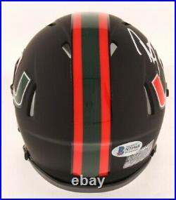 Ray Lewis Signed Miami Hurricanes Black Riddell Speed Mini Helmet- Beckett Auth