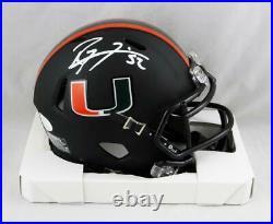 Ray Lewis Signed Miami Hurricanes Black Riddell Speed Mini Helmet- JSA W Auth