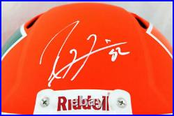 Ray Lewis Signed Miami Hurricanes F/S AMP Speed Helmet- Beckett W Auth Front