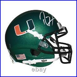 Ray Lewis Signed Miami Hurricanes Mini Schutt Replica Green Football Helmet JSA