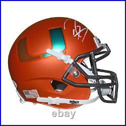Ray Lewis Signed Miami Hurricanes Mini Schutt Replica Orange Football Helmet JS