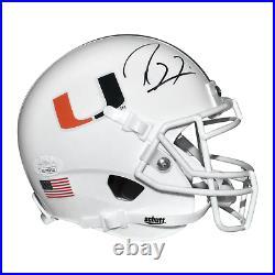 Ray Lewis Signed Miami Hurricanes Mini Schutt Replica White Football Helmet JSA