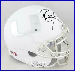Ray Lewis Signed Miami Hurricanes White Schutt Mini Helmet- Beckett Auth Black