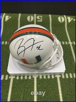 Ray Lewis Signed Miami U Hurricanes Mini Helmet Baltimore Ravens Hof
