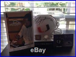 Ray Lewis signed Miami Hurricanes Mini Helmet