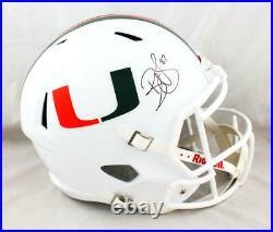 Reggie Wayne Autographed Miami Hurricanes F/S Speed Helmet Beckett W Auth Blk
