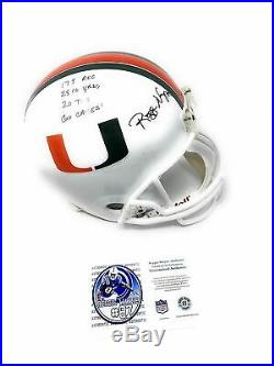 Reggie Wayne Miami Hurricanes Signed Autograph Full Size Helmet MULTI STAT INSCR