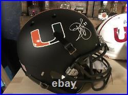 Reggie Wayne Signed Hurricanes F/S Schutt Matte Black Authentic Helmet