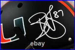 Reggie Wayne Signed Hurricanes F/S Schutt Matte Black Helmet Beckett W Auth