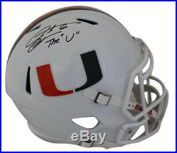 Santana Moss Autographed Miami Hurricanes Speed Replica Helmet JSA 24073