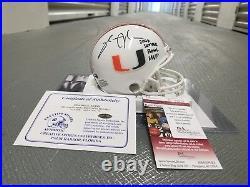 Sinorice Moss autographed mini helmet Miami Hurricanes