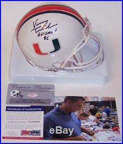 Vinny Testaverde Hand Signed Miami Hurricanes Mini Helmet 86 Heisman Psa