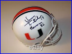 Vinny Testaverde Signed Miami Hurricanes 1986 Heisman Mini Helmet