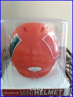 Vinny Testaverde Autographed AMP Mini Helmet 1986 Heisman JSA Miami Hurricanes