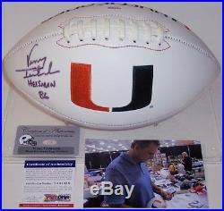Vinny Testaverde Hand Signed Miami Hurricanes Full Size Football Heisman 86 Psa