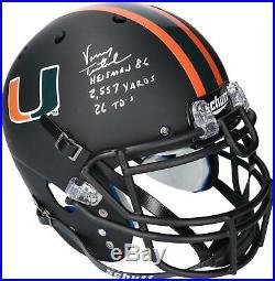 Vinny Testaverde Miami Hurricanes Signed Black Matte Helmet & Inscs LE 14